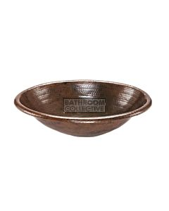 CopperCo - 483mm Oval Self Rimming Hammered Copper Sink