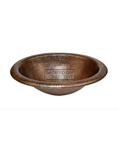 CopperCo - 457mm Wide Rim Oval Self Rimming Hammered Copper Sink