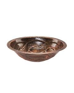 CopperCo - 483mm Oval Braid Under Counter or Surface Mount Hammered Copper Sink