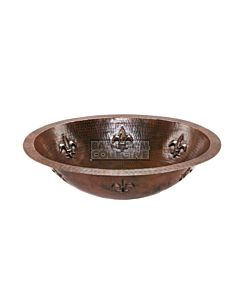 CopperCo - 483mm Oval Fleur De Lis Under Counter or Surface Mount Hammered Copper Sink