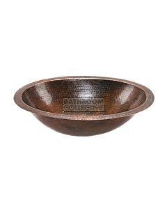 CopperCo - 483mm Oval Under Counter or Surface Mount Hammered Copper Sink