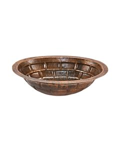 CopperCo - 483mm Oval Stacked Stone Under Counter or Surface Mount Hammered Copper Sink