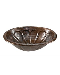 CopperCo - 483mm Oval Sunburst Self Rimming Hammered Copper Sink