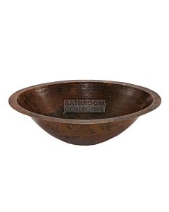 CopperCo - 508mm Master Bath Oval Under Counter or Surface Mount Hammered Copper Sink