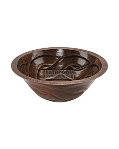 CopperCo - 432mm Round Braided Under Counter or Surface Mount Hammered Copper Sink