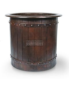 CopperCo - 1016mm Japanese Style Soaking Hammered Copper Bathtub with Barrel Strap Design