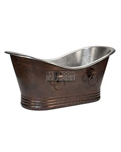 CopperCo - 1702mm Hammered Copper Double Slipper Bathtub With Rings and Nickel Interior