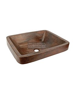 CopperCo - 483mm Rectangle Skirted Vessel Hammered Copper Sink