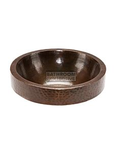CopperCo - 432mm Round Skirted Vessel Hammered Copper Sink
