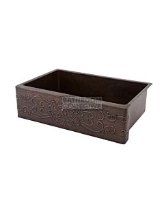 CopperCo - 838mm Hammered Copper Single Bowl Kitchen Butler Sink w/ Scroll Design
