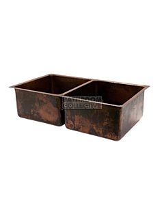 CopperCo - 838mm Hammered Copper Under Counter/Surface Mount Double Bowl Kitchen Sink