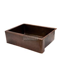 CopperCo - 762mm Hammered Copper Single Bowl Kitchen Butler Sink