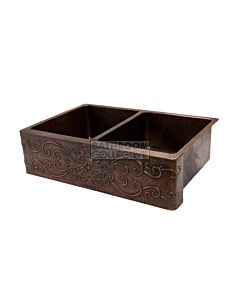CopperCo - 838mm Hammered Copper Double Bowl Kitchen Butler Sink w/ Scroll Design
