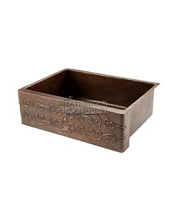 CopperCo - 762mm Hammered Copper Single Bowl Kitchen Butler Sink w/ Scroll Design