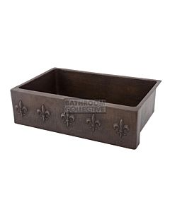 CopperCo - 838mm Hammered Copper Single Bowl Kitchen Butler Sink w/ Fleur De Lis Design