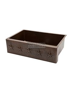 CopperCo - 838mm Hammered Copper Single Bowl Kitchen Butler Sink w/ Star Design