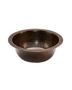 CopperCo - 356mm Round Hammered Copper Prep Sink w/ 89mm Drain Size