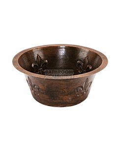 CopperCo - 406mm Round Copper Bar Sink w/ Fleur De Lis and 51mm Drain Size
