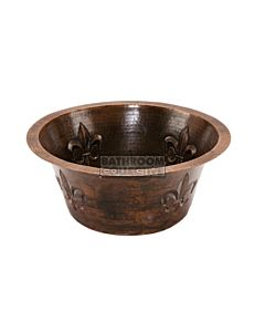 CopperCo - 406mm Round Copper Prep Sink w/ Fleur De Lis and 89mm Drain Size
