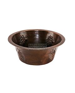 CopperCo - 406mm Round Copper Bar Sink w/ Grapes and 89mm Drain Size