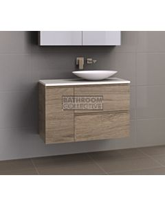 Timberline - Marshall 900mm Wall Hung Vanity with 20mm Meganite Top and Ceramic Above Counter Offset Basin