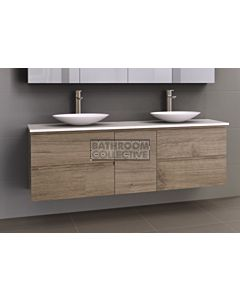 Timberline - Marshall 1800mm Wall Hung Vanity with 20mm Meganite Top and Ceramic Above Counter Double Basin