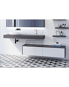 Timberline - Milan 1500mm Wall Hung Vanity with Laminate Slab Top with Offset Ceramic Basin