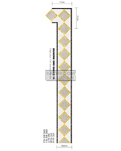 Bisazza - Borders Giunone Oro Giallo Decorative Glass Mosaic Tile, per lineal metre