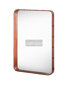 Gubi - Adnet Tan Leather Rectangulaire Wall Mirror 78cm x 48cm with Rivets