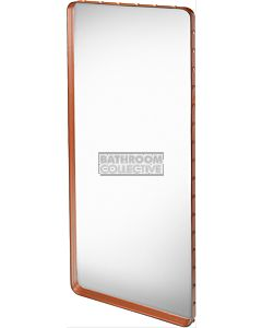 Gubi - Adnet Tan Leather Rectangulaire Wall Mirror 180cm x 70cm with Rivets