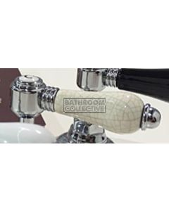 Nicolazzi - 1412 Wall / Deck Mounted Taps Pair in Chrome with Antique Porcelain Handles