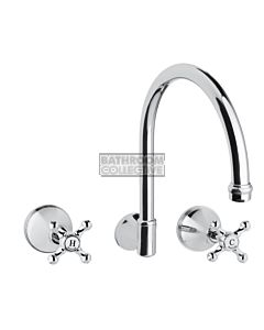 Bastow Tapware - Georgian Wall Mounted Sink Tap Set with Cross Handles CHROME