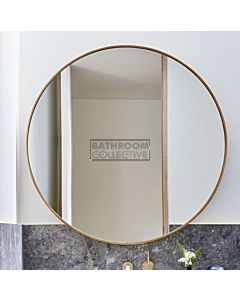 Bespoke - 800mm Round Raw Brushed Brass Framed Mirror