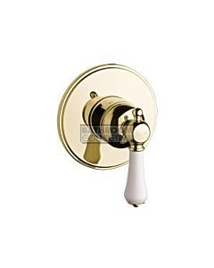 Bastow Tapware - Georgian Wall Mixer with Porcelain Handle BRASS GOLD