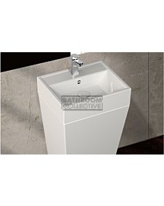 Paco Jaanson - Isvea Sistema Y 500mm Back to Wall Basin and Floor Standing Pedestal 1TH Gloss White