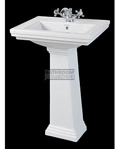 Canterbury - Warrington Deco Small Ceramic Pedestal Basin 520mm x 415mm