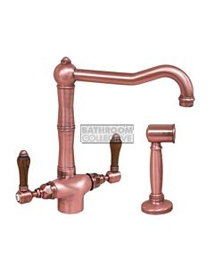 Nicolazzi - 1406WS Kitchen Twinner Tap Sink Mixer with Traditional Swivel Spout & Handspray in Raw Copper with El Capitan Lever Handles