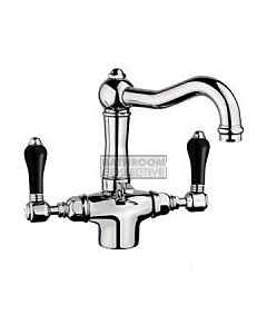 Nicolazzi - 1432T Basin Twiner Tap, Traditional Spout in Chrome with Black Porcelain Handles