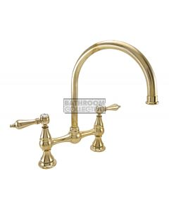 1901 Federation Kitchen Bridging Tap with Gooseneck Spout - Polished Brass