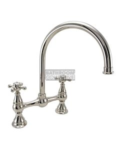 1901 Federation Kitchen Bridging Tap with Gooseneck Spout - Polished Nickel