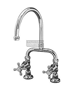 Bastow Tapware - Victorian Exposed Kitchen Tap Set with Gooseneck Spout, Cross Handles CHROME