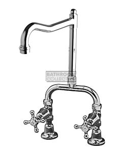 Bastow Tapware - Victorian Exposed Kitchen Tap Set with English Spout, Cross Handles CHROME