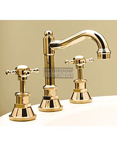 Bastow Tapware - Victorian Basin Tap Set with English Spout, Cross Handles BRASS GOLD