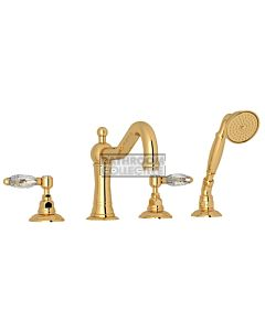 Nicolazzi - 1449 Deck Mounted Bath Tub Mixer Tap & Hand Shower in Gold with Crystal Lever Handles