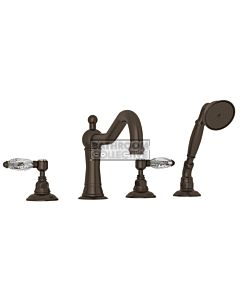 Nicolazzi - 1449 Deck Mounted Bath Tub Mixer Tap & Hand Shower in Tuscan Brass with Crystal Lever Handles