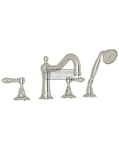 Nicolazzi - 1449 Deck Mounted Bath Tub Mixer Tap & Hand Shower in Polished Nickel with El Capitan Handles