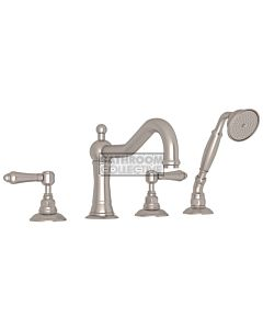 Nicolazzi - 1449 Deck Mounted Bath Tub Mixer Tap & Hand Shower in Brushed Nickel with El Capitan Handles
