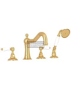 Nicolazzi - 1449 Deck Mounted Bath Tub Mixer Tap & Hand Shower in Gold with Petite Mont Blanc Handles