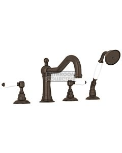 Nicolazzi - 1449 Deck Mounted Bath Tub Mixer Tap & Hand Shower in Tuscan Brass with Petite Mont Blanc Handles