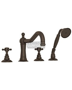 Nicolazzi - 1449 Deck Mounted Bath Tub Mixer Tap & Hand Shower in Tuscan Brass with Half Dome Handles